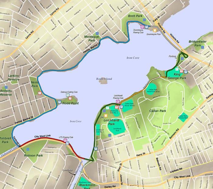 Bay Run Map Walking and cycling routes   Inner West Council Bay Run Map